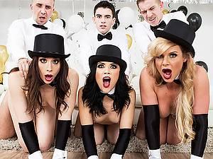 Festive porn orgy with three horny stars Chanel Preston, Kristina Rose and Phoenix Marie
