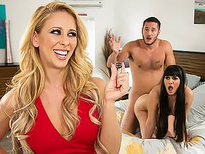 Awesome group porn threesome with mature blonde and sultry Mercedes Carrera