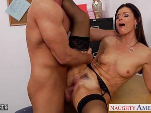 Naughty India Summer in stockings fucked by student