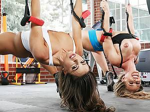 Coach fucks two beautiful slim girls Nicole Aniston And Abigail Mac in the gym