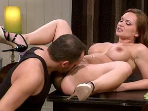 Kneading Katja Kassin's massive tits before drilling her pink muff