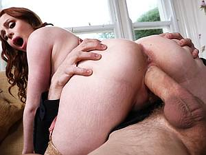 Attractive redhead babe with perfect ass intensely fucked