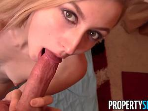 Stunning blonde realtor fucks for money