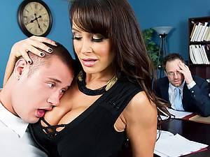 Big tit assistant Lisa Ann takes chief's dick in the office