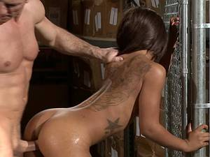 Tattooed whore has sex in the warehouse