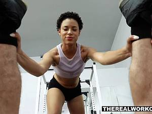 Cute ebony trainer gives a hot fuck out to her client