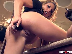 Blonde with big melons massages her hot coochie