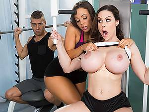 Porn orgy with charming female athletes Abigail Mac and Kendra Lust in female shower room